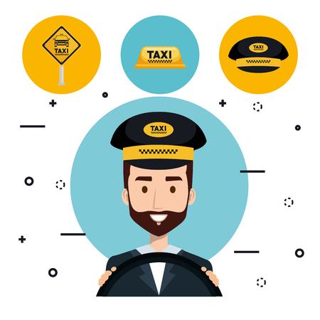 ドライバータクシーサービスアプリ漫画ベクトルイラスト  イラスト・ベクター素材