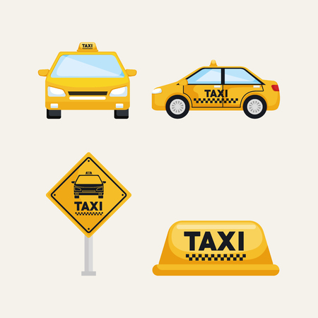 taxi service set transport order internet elements vector illustration