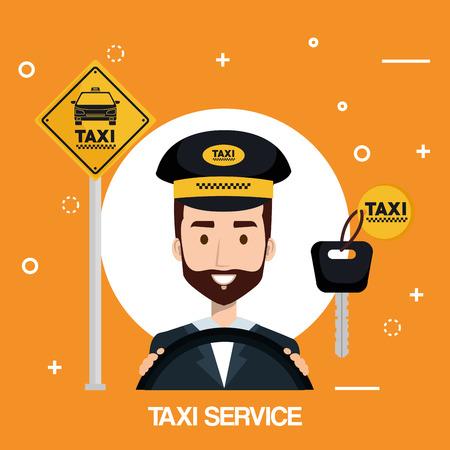 driver man taxi service transport public app vector illustration Illustration