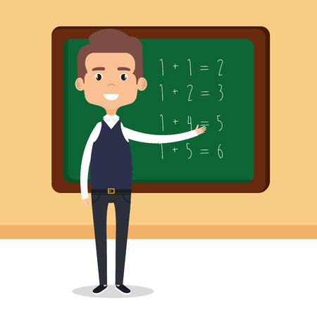 teacher school with chalkboard avatar character vector illustration design Ilustracja