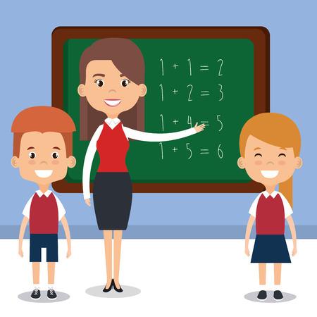 teacher school with chalkboard avatar character vector illustration design Illustration