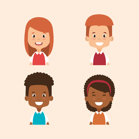 black youth: little students avatars characters vector illustration design