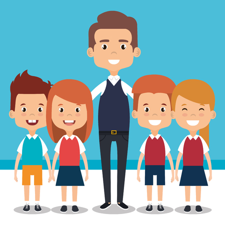 teacher school with children avatar character vector illustration design 일러스트