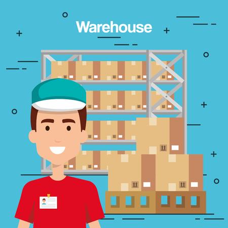 warehouse goods service icons vector illustration design