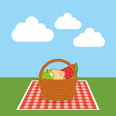 ontwerp van de het pictogram vectorillustratie van de picknickpartij het scène