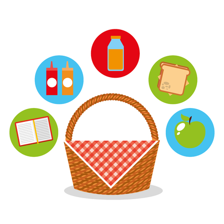 Ontwerp van de het pictogram vectorillustratie van de picknickpartij het scène Stockfoto - 90242815