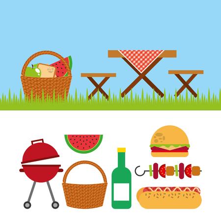 ピクニック パーティー シーンのアイコン ベクトル イラスト デザイン
