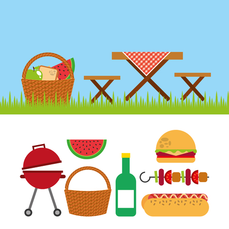 picnic party scene icon vector illustration design