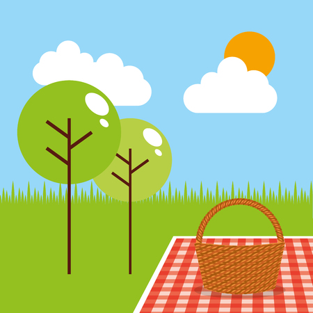 picnic party scene icon vector illustration design Reklamní fotografie - 90251663
