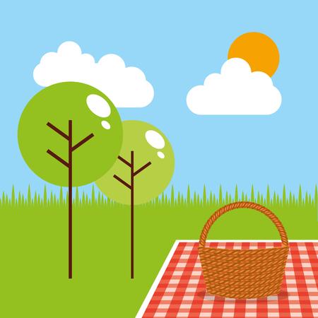 picnic party scene icon vector illustration design