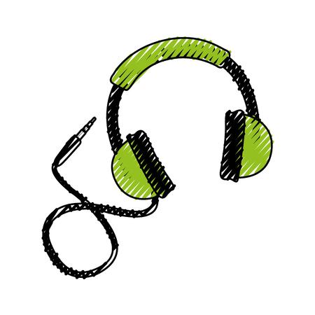 落書き緑ヘッドフォン漫画ベクトル グラフィック デザイン