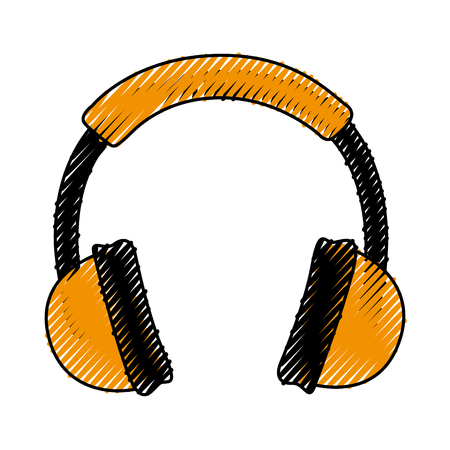 scribble yellow headphones cartoon vector graphic design
