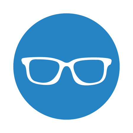 round icon blue glasses cartoon vector graphic design