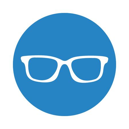 round icon blue glasses cartoon vector graphic design