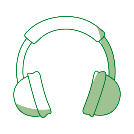 shadow green headphones cartoon vector graphic design Illustration