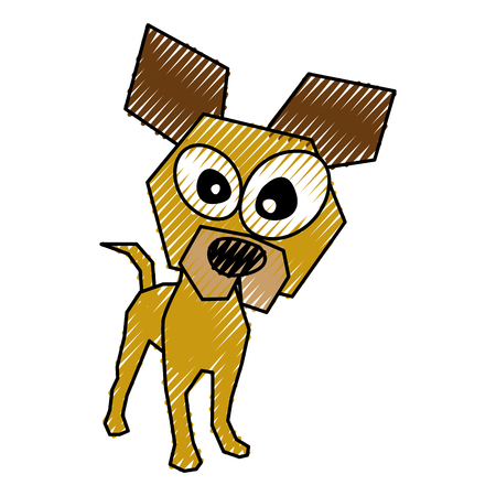 scribble funny doggy cartoon vector graphic design Ilustração