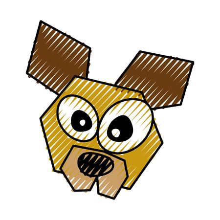 scribble funny dog face cartoon vector graphic design Illustration
