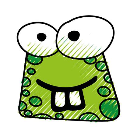 落書き面白いヒキガエル顔漫画ベクトル グラフィック デザイン  イラスト・ベクター素材