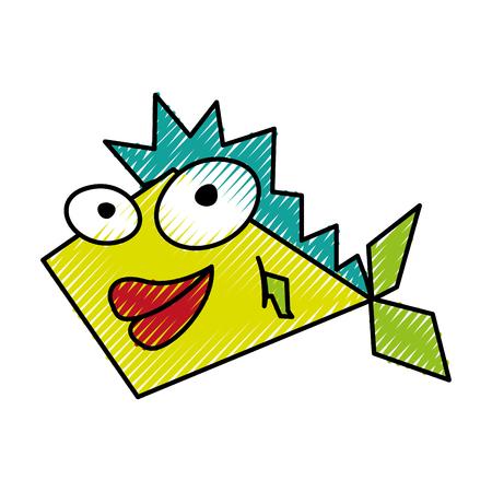 scribble funny fish cartoon vector graphic design