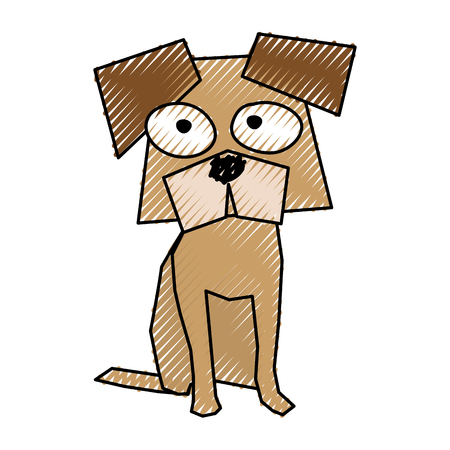 scribble brown funny doggy cartoon vector graphic design Illustration