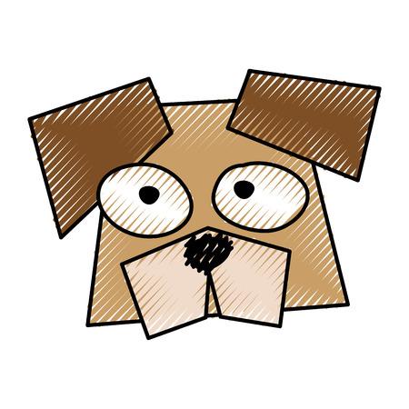 茶色のおかしい犬顔漫画ベクトル グラフィック デザインを走り書き