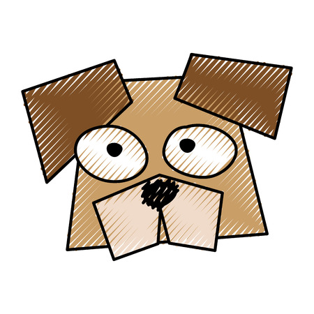 scribble brown funny dog face cartoon vector graphic design