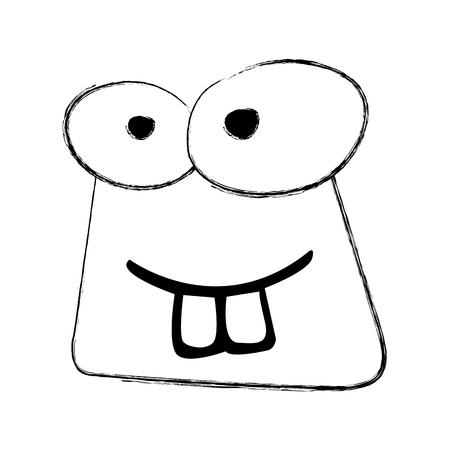 スケッチを描画面白いヒキガエル顔漫画ベクトル グラフィック デザイン