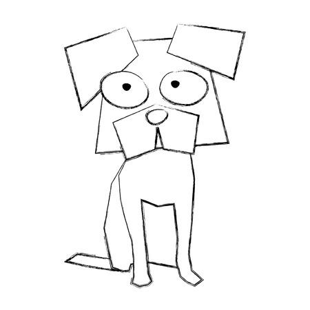 スケッチを描画面白い犬漫画ベクトル グラフィック デザイン  イラスト・ベクター素材