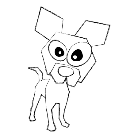 sketch draw funny doggy cartoon vector graphic design Ilustração
