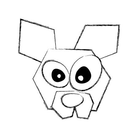 sketch draw funny dog face cartoon vector graphic design