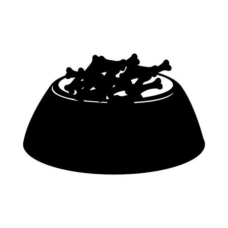 black icon dog food in bowl cartoon vector graphic design