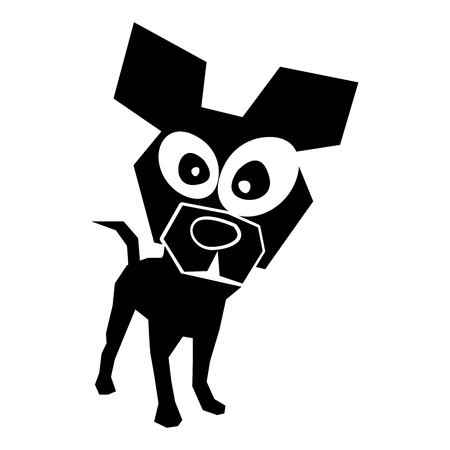 black icon funny doggy cartoon vector graphic design Ilustração
