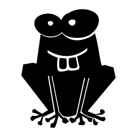 黒いアイコン面白いヒキガエル漫画ベクトル グラフィック デザイン