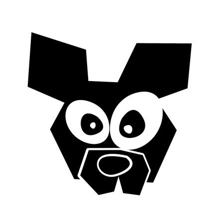 黒いアイコン変な犬顔漫画ベクトル グラフィック デザイン