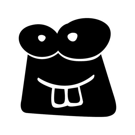 black icon funny toad face cartoon vector graphic design