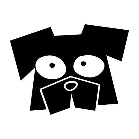 black icon funny dog face cartoon vector graphic design