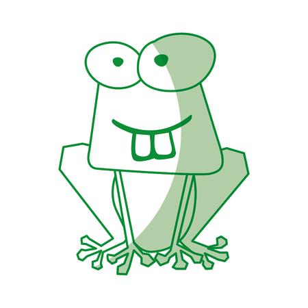그림자 녹색 재미 두꺼비 만화 벡터 그래픽 디자인 일러스트