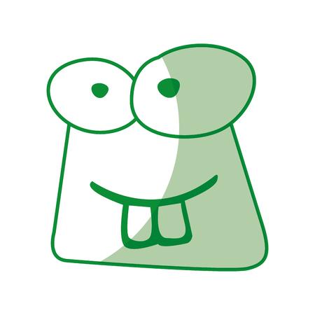 シャドウ グリーン面白いヒキガエル顔漫画ベクトル グラフィック デザイン