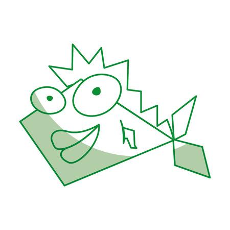 shadow green funny fish cartoon vector graphic design