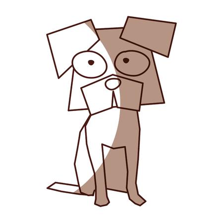 shadow brown funny doggy cartoon vector graphic design Illustration