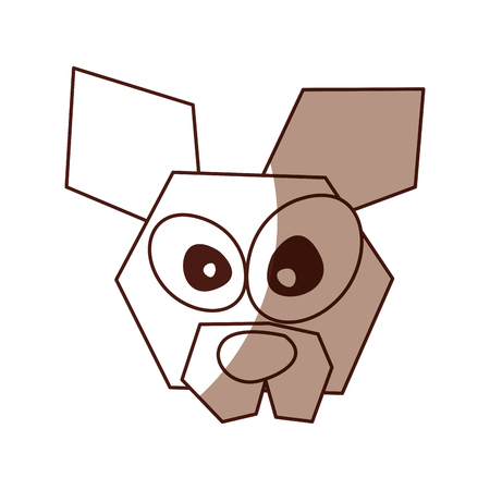 shadow brown funny dog face cartoon vector graphic design Ilustração