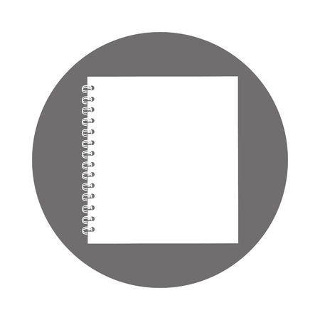 round icon grey open notebook cartoon vector graphic design
