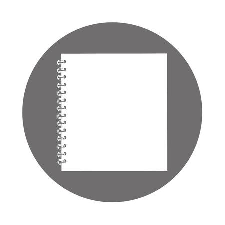 round icon grey open notebook cartoon vector graphic design
