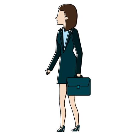 businesswoman with portfolio avatar character vector illustration design