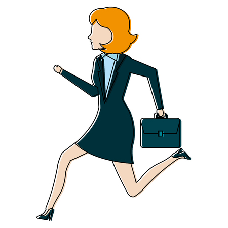 businesswoman running avatar character vector illustration design