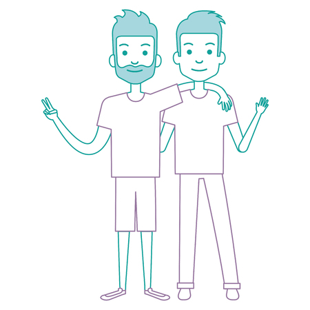 couple of male friends avatars vector illustration design Banco de Imagens - 90254054