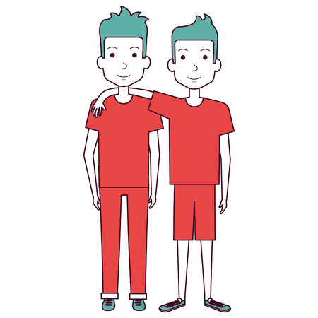 couple of male friends avatars vector illustration design