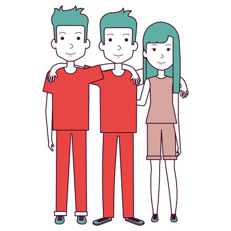 group of persons avatars characters vector illustration design
