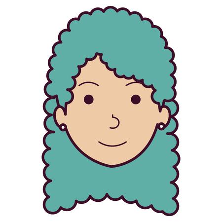 smart girl: beautiful woman head avatar character vector illustration design Illustration