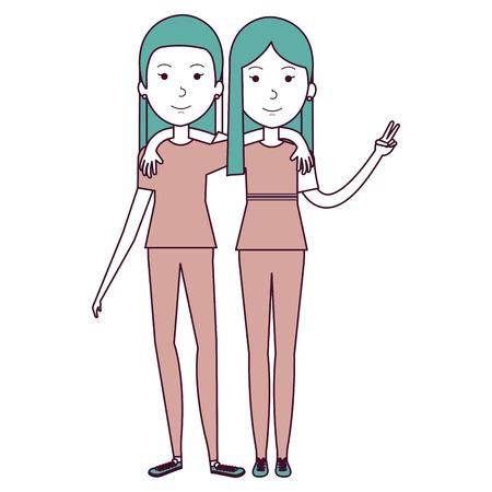 couple of female friends avatars vector illustration design Ilustração